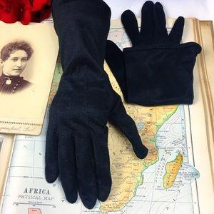 Vintage Black Rayon Evening Gloves